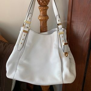 White leather Michael Kors handbag, purse